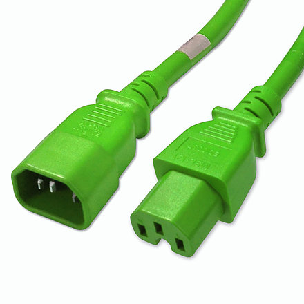 C14 to C15 Power Cable - 5ft Green 15Amp Power Cord