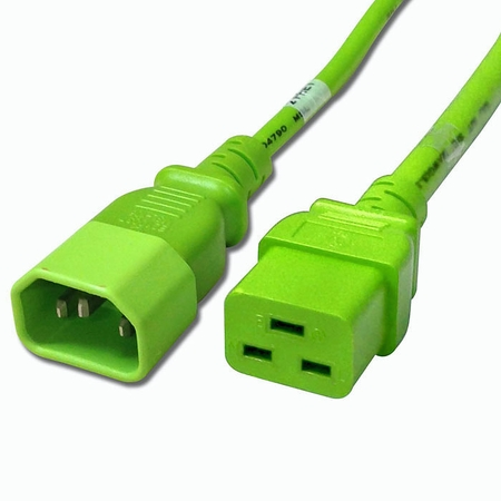 C14 to C19 Power Cable - 3ft Green 15Amp Power Cord