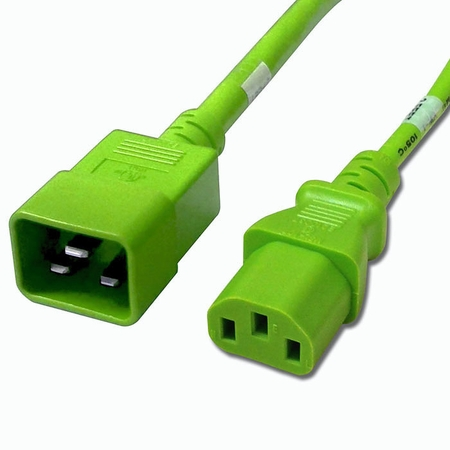 C20 to C13 Power Cable - 3ft Green 15Amp Power Cord
