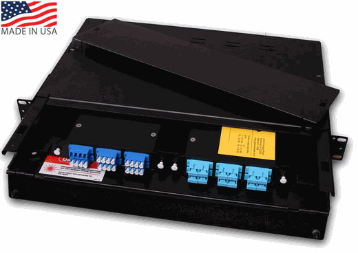 Chameleon Brand Fiber Distribution Enclosure - Rackmount, 1U, 2 Panel Capacity, w/Sliding Tray