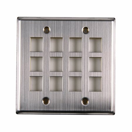 Dual Gang 12-Port Flush Mount Faceplate - Stainless Steel
