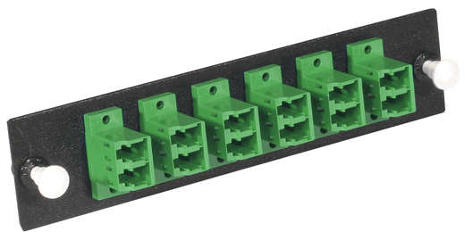 Fiber Optic Adapter Panel, 12-Fiber, LC Duplex, Zirconium Insert, Singlemode, Green