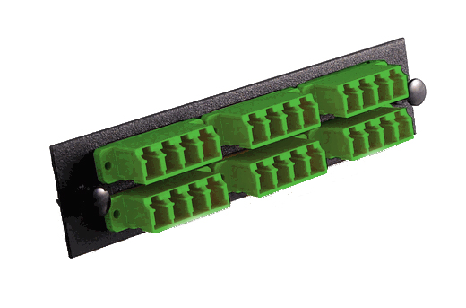 Fiber Optic Adapter Panel, LC/APC Singlemode, 24-Fiber, Green