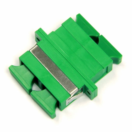 SC Duplex Fiber Coupler, Green, Zr Sleeve