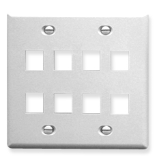 Flat Faceplate, 2-Gang, 8 Port