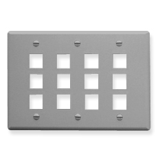 Flat Faceplate, 3-Gang, 12-Port