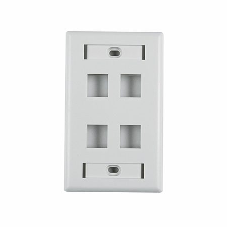 Four Port Horizontal Faceplate with ID Windows