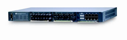 Manageble, modular 24-port switch chassis with 3 slots. Optional Giga links