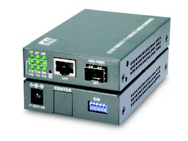 Media Converter, 10/100/1000Base-T to 1000Base-X Gigabit Singlemode with SFP/LC, 50KM, Web Smart Manageable
