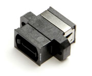MTP/MPO Fiber Coupler, Std. Footprint, Full Flange, Black