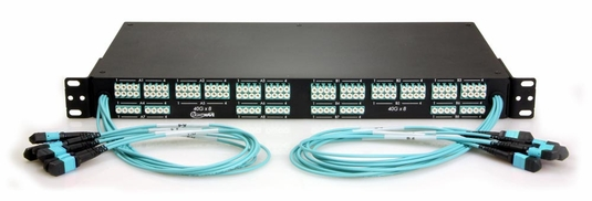12 MTP to 48 LC Fiber Optic Breakout Panel, Front-Facing, Multimode OM3