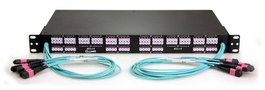 12 MTP to 48 LC Fiber Optic Breakout Panel, Front-Facing, Multimode OM4