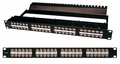 Patch Panel, Cat5e 48 Port 1U, RJ45-RJ45, Integrated Wire Management