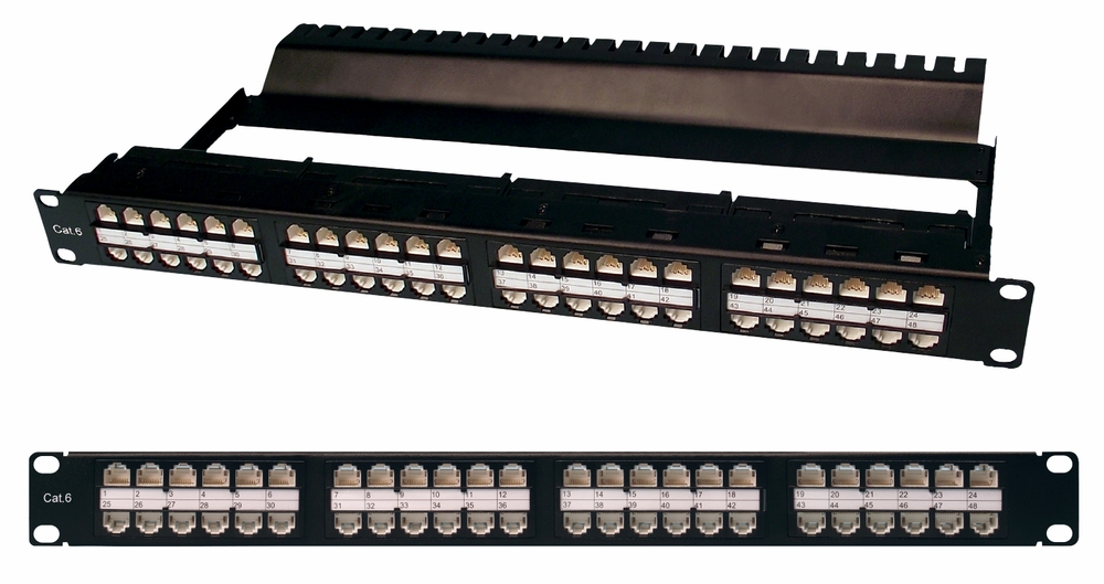 Patch Panel, Cat6 48 Port 1U, RJ45-RJ45, Integrated Wire Management