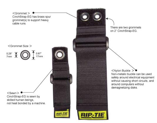 Rip-Tie CinchStrap-EG with Webbing, 2 Widths, 10-Pack