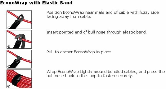 Rip-Tie Econo Wrap With Elastic Band, 5-Pack