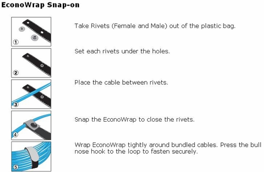Rip-Tie EconoWrap with Snap-on Attachment, 5-Pack