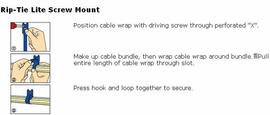 Rip-Tie Lite Screw Mount with Grommet, .5 x 8 Lengths