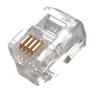 RJ11 Round Solid Modular Plugs, UL Listed, 100 Pack