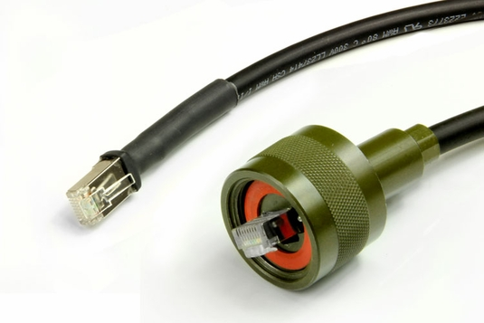 Ruggedized RJ-45 Cable, Shielded Cat5, Zinc Nickel, Plug to Connector