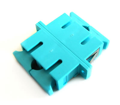 SC/PC Duplex Fiber Coupler, Singlemode/Multimode, Panel Mount, Aqua