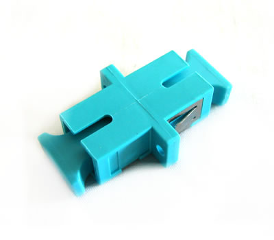 SC/PC Simplex Fiber Coupler, Singlemode/Multimode, Panel Mount, Aqua