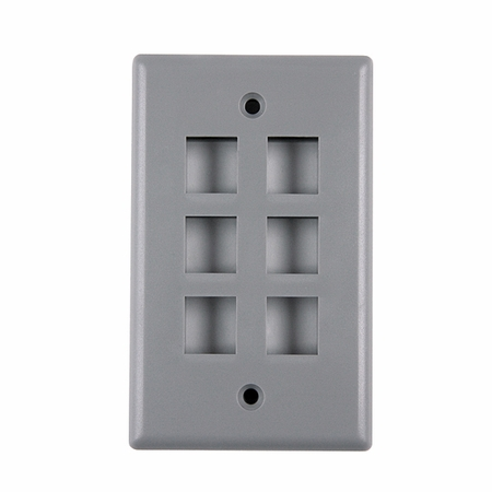 Single Gang Faceplate, Standard Style with Six Ports