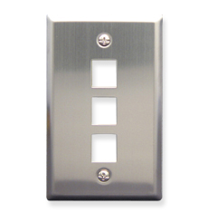 Stainless Steel Faceplate, 1-Gang, 3-Port