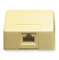 Surface Mount Box Keystone Jack with 1 Voice in 6P6C
