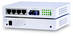 Web based managed 5-port switch with 4 x 10/100 & 1 x 100FX. Multimode, SC