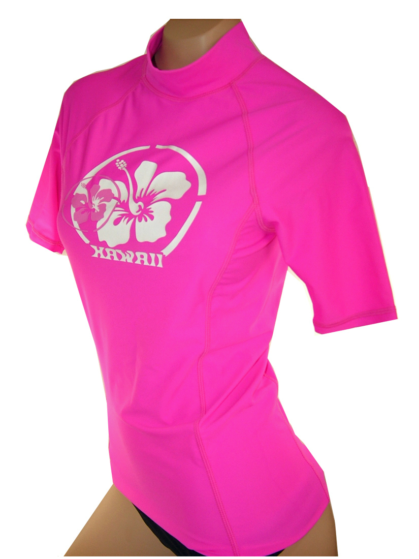 Maui wear 500w women 39 s pink fit quality short sleeve for Wearing t shirt in swimming pool