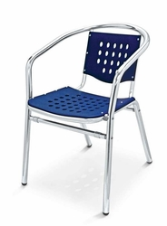 Black Commercial Outdoor Chair w/ Aluminum Frame by Florida Seating