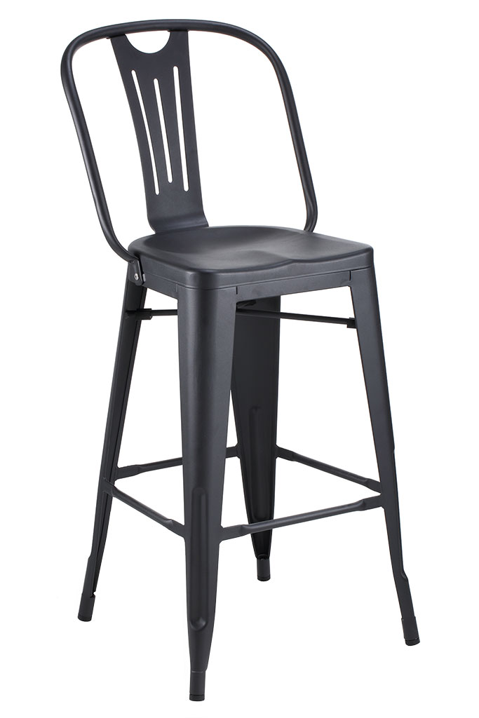 Closeout Hektor Collection Black Powder Coated Bar Stool