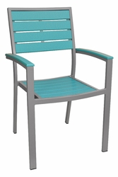 Caribbean Collection Poly Lumber Arm Chair with Silver Frame