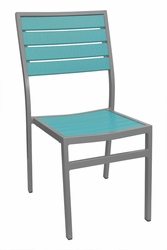 Caribbean Collection Poly Lumber Side Chair with Silver Frame
