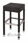 Cayman Collection Synthetic Wicker Backless Bar Stool