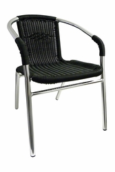 Commercial Aluminum / Black Wicker Dining Chair - Comes in Black, Honey, or Green