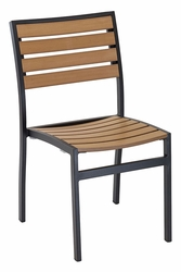Commercial Aluminum/Teak Outdoor Restaurant Chair - Black Frame -  by Florida Seating