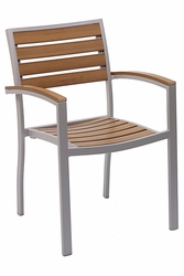 Commercial Aluminum/Teak Outdoor Restaurant Chair by Florida Seating