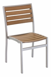 Commercial Aluminum/Teak Outdoor Restaurant Chair - Silver Frame -  by Florida Seating