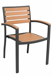 Commercial Aluminum/Teak Outdoor Restaurant Chair  with Arms - Black Frame -  by Florida Seating