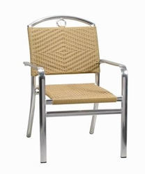 Commercial Outdoor Honey Rattan / Aluminum Chair