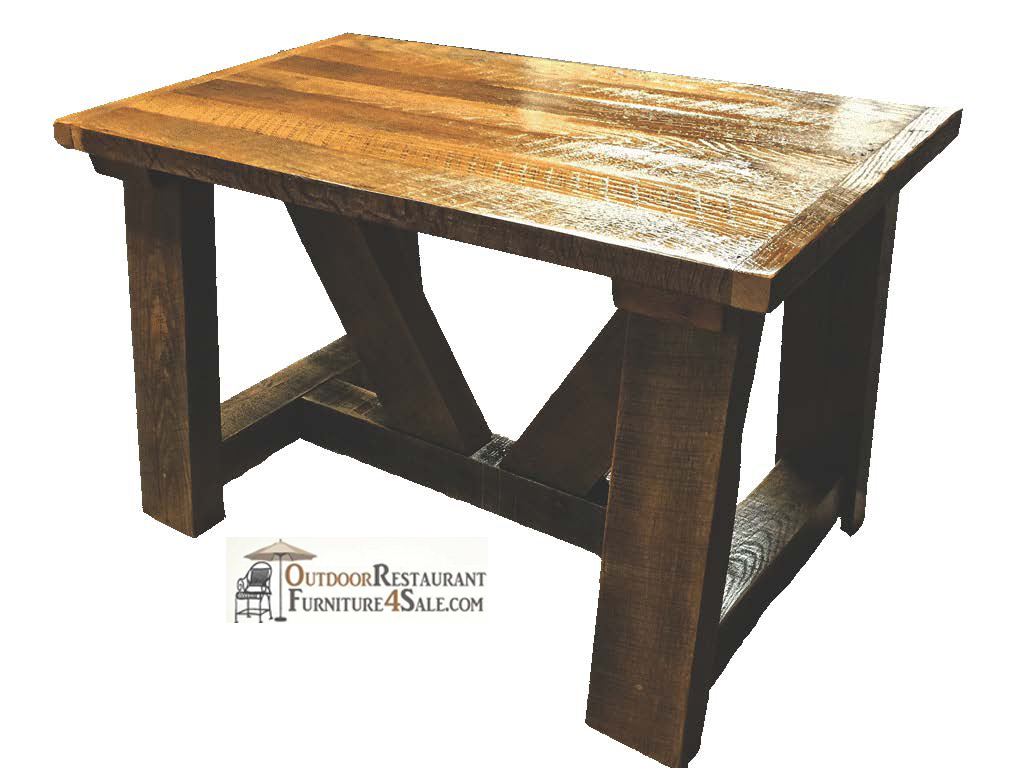 Commercial Reclaimed Wood Farm Table W Beam Base