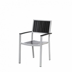 Cypress Durawood / Aluminum Outdoor Restaurant Chair with Arms