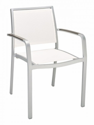 Florida Seating Aluminum Frame Chair with Teak Arms (11 Available Colors)