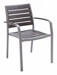 Florida Seating Aluminum Gray Teak-Inspired Arm Chair