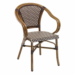 Florida Seating Outdoor Café Chair with Curvy Aluminum Bamboo Arms and Plastic Weave (4 Colors)