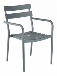 Florida Seating Powder Coated Aluminum Gray Arm Chair