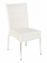 Florida Seating White Woven Wicker Aluminum Chair