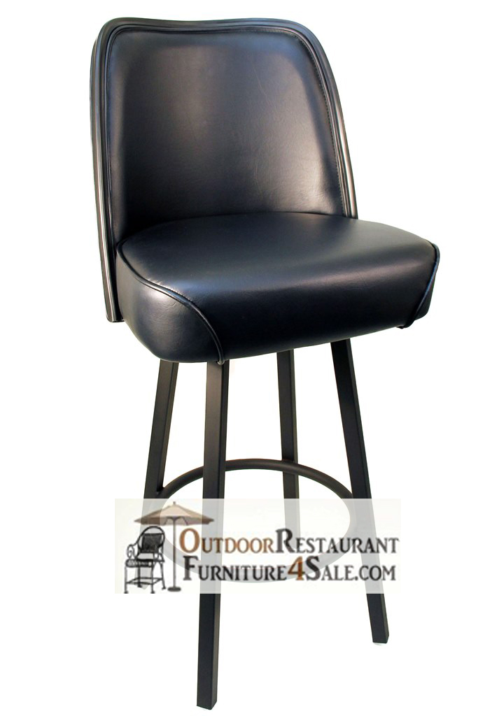 GLADIATOR Black 625 Bucket Bar Stool W/ PVC Edge On Black Or Silver Frame